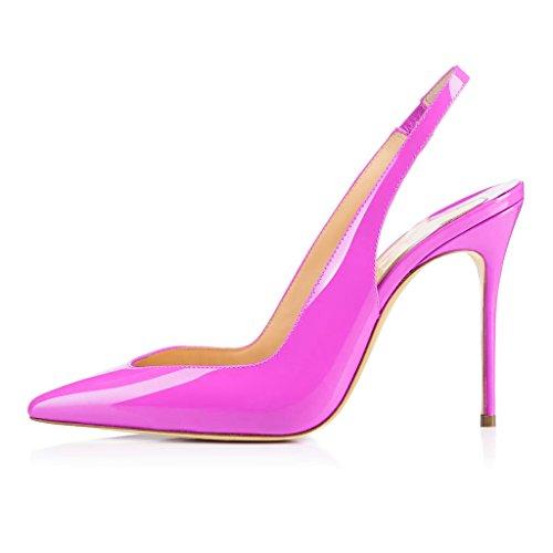 EDEFS Damen Stiletto Heels Übergröße Damenschuhe Spitze Zehen Lackleder Slingback Pumps mit Gummiband Rose