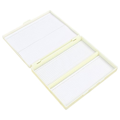 XZANTE 20cm x 16cm Blanco Plastico Rectangular 100 Portaobjetos Caja