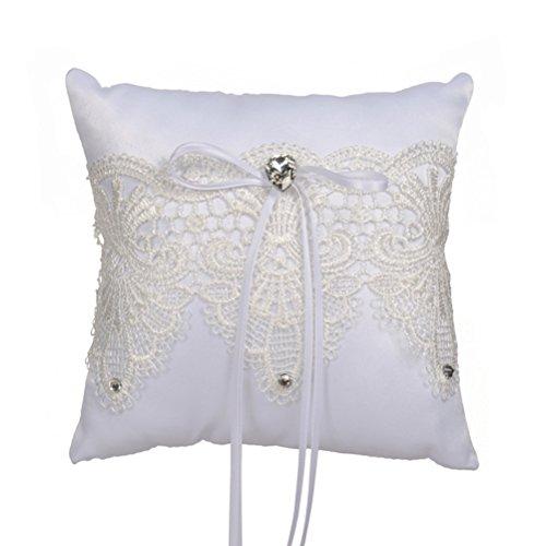 oulii Hochzeit Ring der Kissen Dekorative Perle Blumen Spitze Ring der Kissen 17x 17cm - Perlen Dekorative Kissen