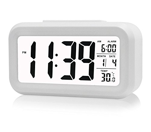 Gearmax LED sveglia digitale snooze di ripetizione Light-attivato sensore controluce la visualizzazione della temperatura e la data(Bianco)