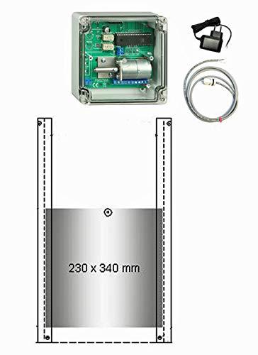 JOSTechnik JT-HK automatische Hühnerklappe mit 1m Außenlichtsensor 230 x 340 mm mit echter Nothaltefunktion