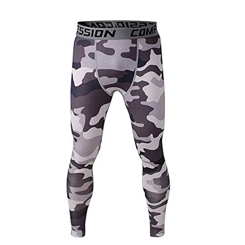 1Bests Men's Outdoor Sports Fitness Elastic Compression Pants Fast Drying Breathable Tight Trousers Leggings (Black gray camo, XXXL)