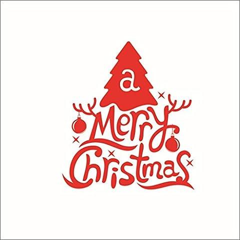 GYMNLJY Wand-Sticker Weihnachten Christmas Tree Glas Aufkleber Sticker herausnehmbare Mauer Fensteraufkleber , 30*57cm