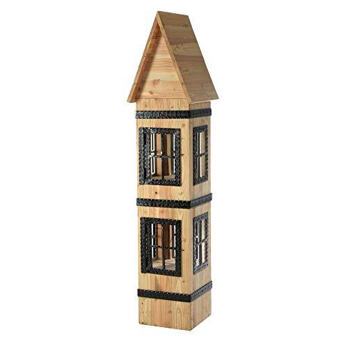 acerto 20021 Dekohaus aus Lärchenholz - 160x40x40cm * Massivholz * Handarbeit | Wetterfestes Holzhaus zum Dekorieren | Premium Holzhäuschen für drinnen & draußen