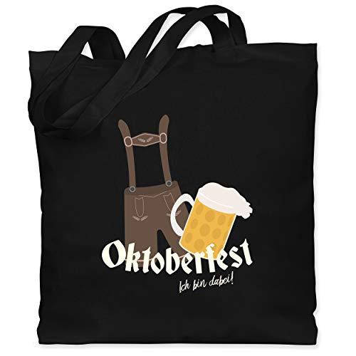 Schwarze Dude Kostüm - Shirtracer Oktoberfest - Ich bin dabei! Lederhose - Unisize - Schwarz - WM101 - Stoffbeutel aus Baumwolle Jutebeutel lange Henkel