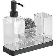 InterDesign - Forma 2 - Organizador para jabón y cepillos, Negro mate/Transparente