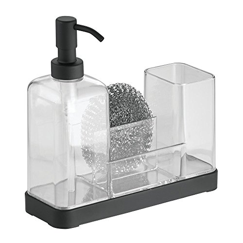 interdesign-forma-kitchen-soap-dispenser-pump-sponge-scrubby-and-dish-brush-caddy-organizer-clear-bl