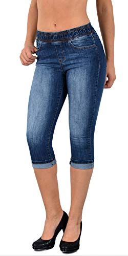 4e83c2eaafe916 ESRA Damen Capri Jeans Hose Skinny Jeanshose mit Gummibund Caprijeans bis  Übergröße J460