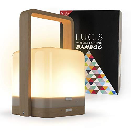 Lucis Bamboo • Lámpara inalámbrica recargable • Lámpara ambiental LED táctil • Multicolor • Intensidad ajustable • Hasta 100 horas de autonomía • Uso en interiores y exteriores • Bambú
