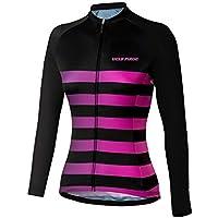 BurningBikewear Uglyfrog Invierno Termo Jersey de Ciclismo, Mujer Moda Raya Diseño, de Manga Larga, Delgado, Camiseta de MTB ZRWX02F