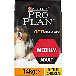 PRO PLAN Medium Adult avec OPTIBALANCE Riche en Poulet - 14 KG - Croquettes pour chiens adultes de taille moyenne