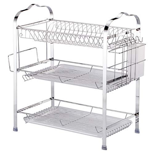 TuToy 3 Layer Tier Chrome Alloy Dish Drainer Cutlery Holder Rack Tray Kitchen Drain Shelf