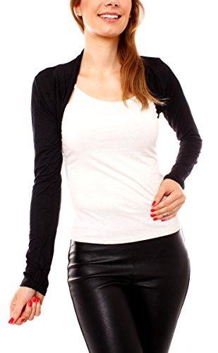 Damen Jersey Bolero Jäckchen Schulterjäckchen Kurz Baumwolle Langarm One Size - Schwarz