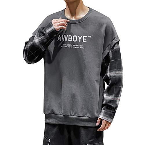 KaloryWee 2019 Herbst Winter Herren Sweatshirt Kariert Briefdruck Patchwork Pullover Kapuzenpullover Modisch Junge Langarm Hooded
