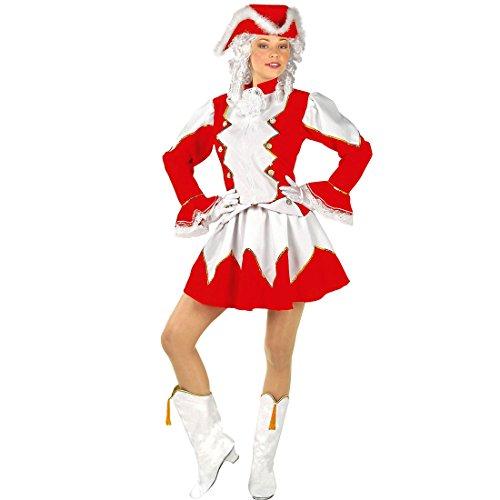 Amakando Gardekostüm Damen - L (42/44) - Funkenmariechen Damenkostüm Kleid Funkenmarie Funkenkostüm rot weiß Garde Outfit Karneval Rotes Tanzmariechen Kostüm