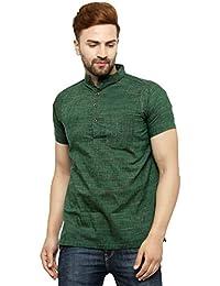 Enchanted Drapes Mens' Solid Cotton Short kurta