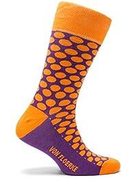 VON FLOERKE handgekettelte Business-Socken / Herrensocken gepunktet / Smoking-Strümpfe aus ägyptischer Baumwolle / bunte Baumwollsocken ohne Naht