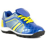 Tick - Boys Blue & Yellow Lace Up Astroturf Trainer