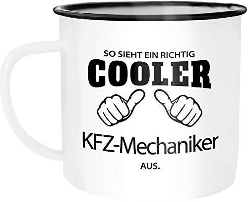 Moonworks Emaille Tasse Becher So sieht ein richtig ein richtig cooler KFZ-Mechaniker aus Berufe...