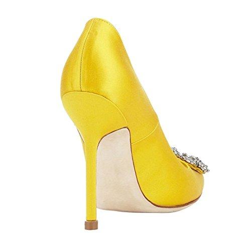 EKS Damen Stilett Spitze Partei Pumps High Heels Strass Schuhe Gelb