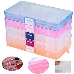 Fächer Aufbewahrungsbox ,Tatuer Klar Sortierboxen Plastik Aufbewahrungsbox Schmuckkasten Einstellbar Sortimentskasten für Schmuck Veranstalter Perlen Ohrring(15 Raster*5 Stück)