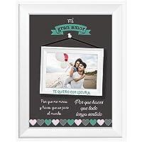 Regalo Original Pareja/Lámina Personalizada/Incluye: Lámina + Marco/Novio/Novia/Mujer/Hombre/Enamorados/Navidad/Aniversario/San Valentín/Cumpleaños