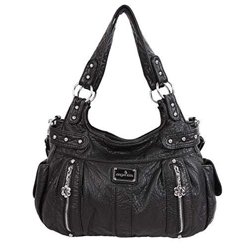 angel kiss Damen Handtasche Lässige Schultertasche Umhängetaschen Hobo Taschen Henkeltaschen Leder für Arbeit Schule Shopper Schwarz