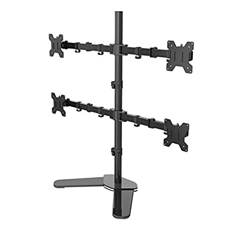 Suptek Quad Arm Monitor Stand Mount Bracket Fully Adjustable Desk Free Stand for 4 LCD LED Screens up to 27