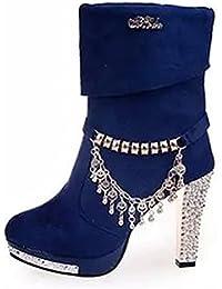 Easemax Damen Modisch Quaste Kunstliche Perlen Kurzschaft Stiefel Pumps Blau 36 EU