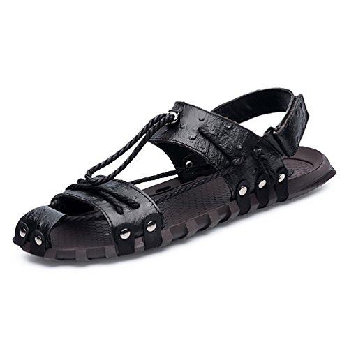 Sandale en Cuir Bout Fermée pour Homme Tong Chaussure de Plage de Sport Aquatique Pantoufle Outdoor Plate Antidérapant