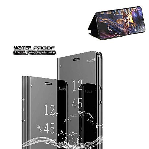 Xinglong Compatible Miroir Coque Galaxy S7 Edge,360 degrés Protection Bumper Etui Housse Case Flip Cover PC Samsung Coque Etanche Technologie de Galvanoplastie Support Magnétique,Noir