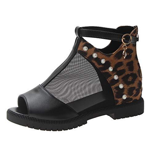 TUDUZ Damen Sommer Mode Sandalen Schnalle Wedges Plattform Retro Peep Toe Sandalen Damen Plateausandalen mit Keilabsatz Ballerinas(Braun,39EU)