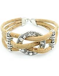 Circle with Flowers cork bracelet women Vintage bracelet natural handmade