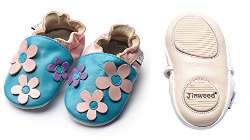 Jinwood designed by amsomo - Jungen - Maedchen - Hausschuhe - ECHT LEDER - Lederpuschen - Krabbelschuhe - soft sole / mini shoes div. Groeßen big flower pink mini shoes