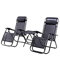 Beaulife.Reclining Folding Chairs Set of 2 with Table Zero Gravity Easy Storage Outdoor Patio Sun Loungers Recliner Chair Desk with Headrest Footrest for Home Camping Outdoor Black