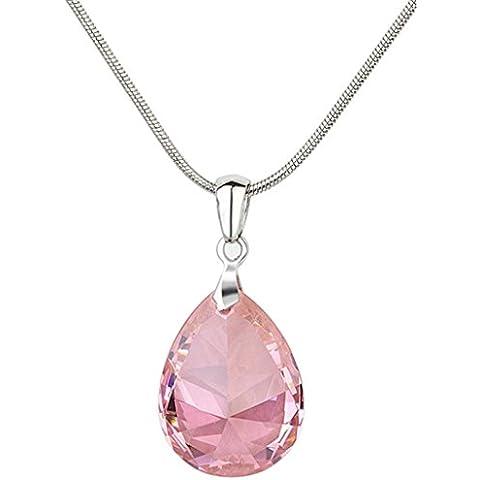 KnSam Donne Placcato in Platino Per la Collana Forma a Goccia Serpente Pink Cristallo Zirconia Cubica Strass [Novità