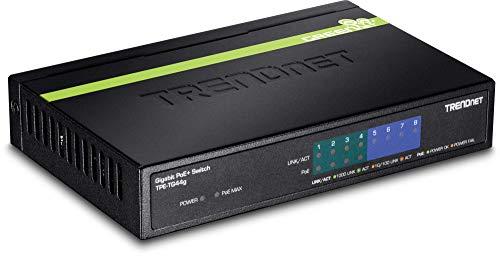 TRENDnet 8-Port Gigabit PoE+ Switch, 4 x Gigabit PoE/PoE+ Ports (bis zu 30 Watt je PoE+ Port), 4 x Gigabit Ports, 61.6W Watt PoE Gesamtleistung, 16 Gbit/s Schaltkapazität, TPE-TG44G (Trendnet 8-port)