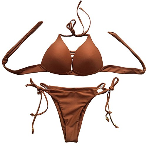 Vandot Damen Sexy bandage Bikini Swimwear Push Up Gepolstert Neckholder Bikini Set Verband Design Beachwear Badeanzug Swimsuit Tankini High Waist Hohe Taille Oberteil Top und Bottom -Aprikosen L (Tankini Neckholder-bikini)