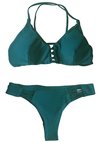 Summer Mae Mujer Bikini Trajes de baño Acolchado Brazilian con Cordones y Corte...