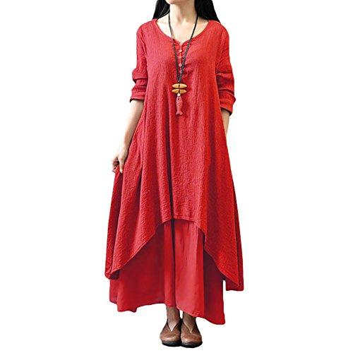 Romacci Damen Beiläufige Lose Kleid Fest Langarm Boho Lang Maxi Kleid S-5XL Schwarz/Weiß/Rot/Gelb, Rot, S