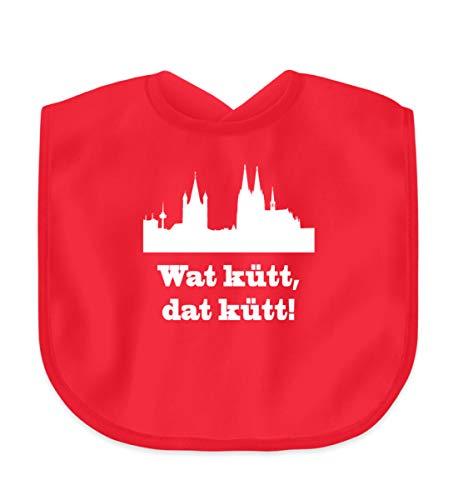 Köln/Kölsch: Wat kütt, dat kütt! - Geschenk Humor - Kölle Alaaf - Ruud un Wieß - Baby Lätzchen -Einheitsgröße-Kaiserliches Rot