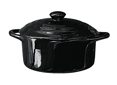 5 Round Stoneware Mini Personal Covered Casserole Baker (Black) by Creative Co-op
