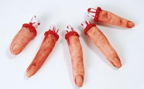 Halloween Deko - 5 blutige abgetrennte Finger-