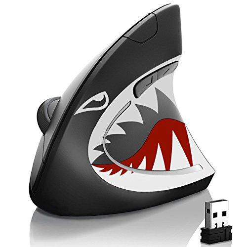 Maus Vertikale Shark Attack | USB 2.0Bluetooth Wireless | Ultra Leistungsstarke für das Gaming oder die Office | Innovatives Design | Verhinderung von Sehnenscheidenentzündung | Akku verbessert | 5Tasten & Scrollrad |