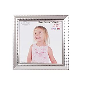 Inov8 British Made Traditional Picture/Photo Frame, Square 8x8-inch, Ripple Silver