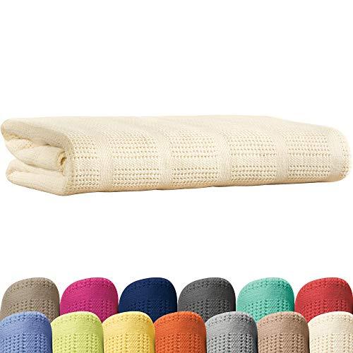 Erwin Müller Sommerdecke, Baumwolldecke - 100% Baumwolle Natur Größe 150x200 cm - atmungsaktiv, weiche Qualität, luftig leicht, hautfreundlich - (weitere Farben, Größen) -