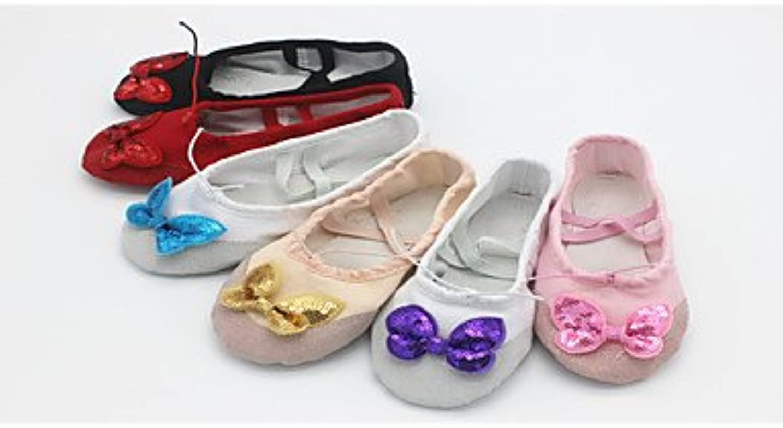 Women's Dance Schuhe Leinwand Ballerinas flachem Absatz Leistung Schwarz/Gold