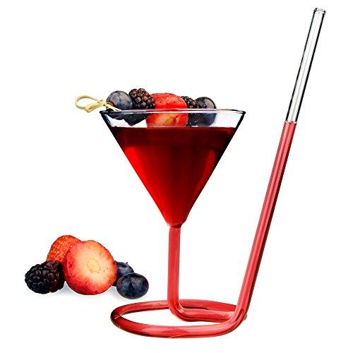 Verre à cocktail Siptini 220 ml – Verre à Martini fantaisie avec paille
