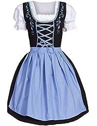 Mujeres Vestido Tradicional para Oktoberfest Festival Carnaval Mujer Mangas Cortas Alemán Vestido Dirndl Baviera Vestido de