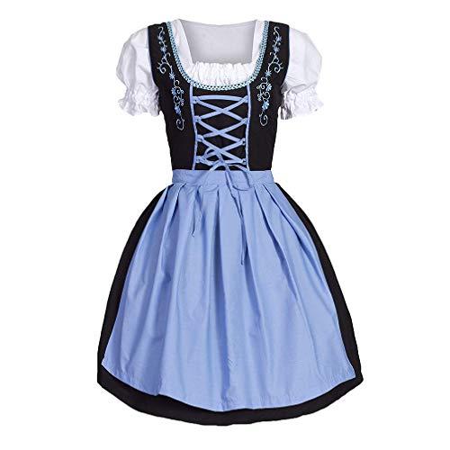 rndlkleid für Damen, Retro Traditionell Spleißparty Abendessen Faltenrock, Elegant Kleiden für Bayerisch Oktoberfest Halloween Karneval(10 Stile S-3XL ()